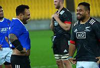 Maori All Blacks' Ash Dixon and Samoa's Ray Niuia swap jerseys after the international rugby match between Manu Samoa and the Maori All Blacks at Sky Stadium in Wellington, New Zealand on Saturday, 26 June 2021. Photo: Dave Lintott / lintottphoto.co.nz
