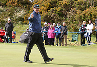 27 May 2015; Ernie Ells throws his ball to a young supporter<br /> <br /> Dubai Duty Free Irish Open Golf Championship 2015, Pro-Am. Royal County Down Golf Club, Co. Down. Picture credit: John Dickson / DICKSONDIGITAL