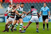 28th March 2021; Mattoli Woods Welford Road Stadium, Leicester, Midlands, England; Premiership Rugby, Leicester Tigers versus Newcastle Falcons; Luther Burrell of Newcastle Falcons looks to beat Kini Murimurivalu of Leicester Tigers