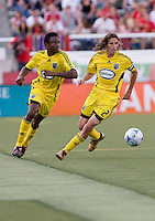 Columbus Crew MF Emmanuel Ekpo (17) and  DF Frankie Hejduk (2) in the Real Salt Lake 2-0 win over Columbus Crew on July 12, 2008 at Rice-Eccles Stadium in Salt Lake City, Utah.