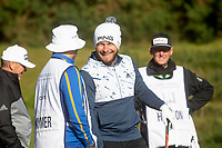 1st October 2021; Kingsbarns Golf Links, Fife, Scotland; European Tour, Alfred Dunhill Links Championship, Second round; Tyrrell Hatton of England in high spirits on the 12th tee at Kingsbarns Golf Links