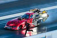 Nov 1, 2020; Las Vegas, Nevada, USA; Crew member for NHRA funny car driver Matt Hagan during the NHRA Finals at The Strip at Las Vegas Motor Speedway. Mandatory Credit: Mark J. Rebilas-USA TODAY Sports