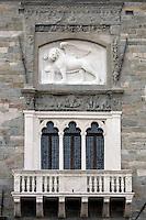 Dettaglio dell'esterno del Palazzo della Ragione in Piazza Vecchia a Bergamo.<br /> Exterior detail of the Palazzo della Ragione in Piazza Vecchia, Bergamo.<br /> UPDATE IMAGES PRESS/Riccardo De Luca