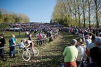 Amira Mellor (GBR/Paul Mines) descending with the Koppenberg as her backdrop<br /> <br /> Koppenbergcross 2014