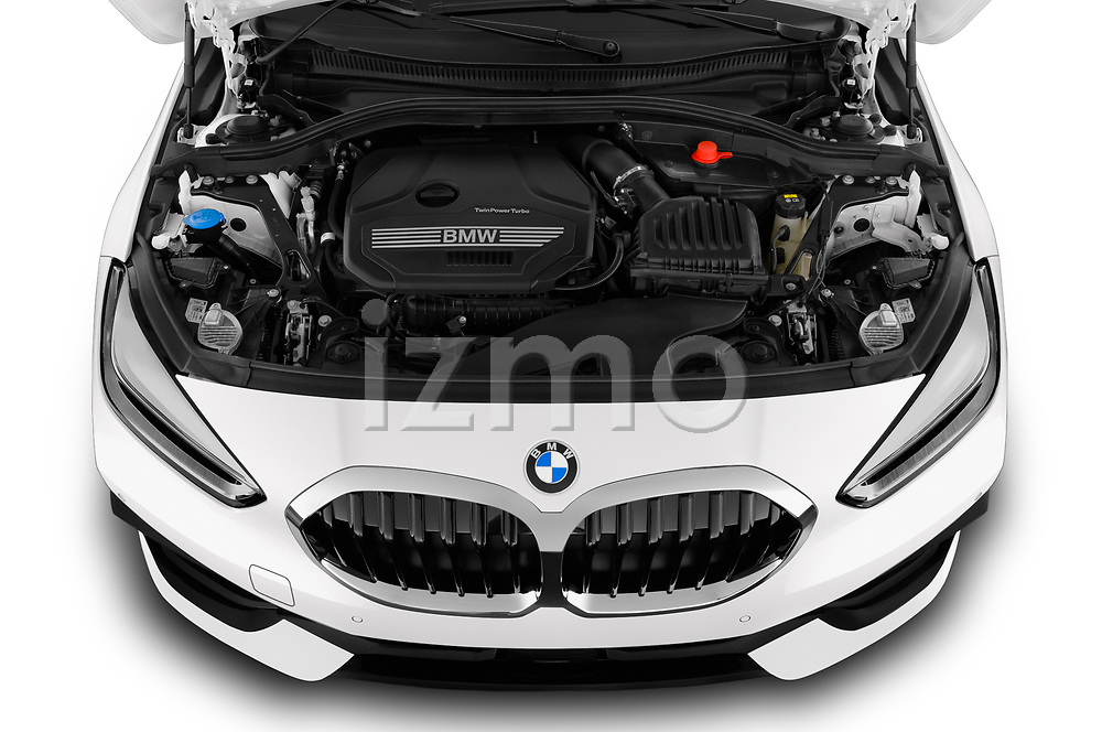 Car Stock 2020 BMW 1-Series Sport 5 Door Hatchback Engine  high angle detail view