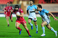 Leigh Halfpenny of Scarlets in action during the European Rugby Challenge Cup Round 4 match between the Scarlets and Bayonne at the Parc Y Scarlets in Llanelli, Wales, UK. Saturday 14 December 2019