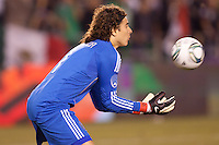 Guillermo 'Memo' Ochoa (1) goalkeeper of Mexico with a save. The national teams of Mexico and Venezuela played to a 1-1 draw in an International friendly match at Qualcomm stadium in San Diego, California on  March 29, 2011...