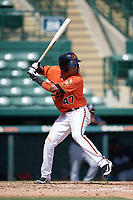 Baltimore Orioles shortstop Milton Ramos (47) at bat during an Instructional League game against the Atlanta Braves on September 25, 2017 at Ed Smith Stadium in Sarasota, Florida.  (Mike Janes/Four Seam Images)