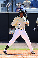 UCF Knights shortstop Darnell Sweeney #21 at bat during a game against the Siena Saints at the UCF Baseball Complex on March 4, 2012 in Orlando, Florida.  Central Florida defeated Siena 15-2.  (Mike Janes/Four Seam Images)