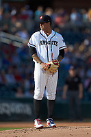 Charlotte Knights starting pitcher Jordan Guerrero (36) looks to his catcher for the sign against the Durham Bulls at BB&T BallPark on July 4, 2018 in Charlotte, North Carolina. The Knights defeated the Bulls 4-2.  (Brian Westerholt/Four Seam Images)