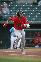 Ezequiel Tovar (5) of the Fresno Grizzlies runs to first base during a game against the Inland Empire 66ers at San Manuel Stadium on May 25, 2021 in San Bernardino, California. (Larry Goren/Four Seam Images)
