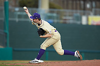 Western Carolina Catamounts starting pitcher Ryan Mitschele (3) delivers a pitch to the plate against the Saint Joseph's Hawks at TicketReturn.com Field at Pelicans Ballpark on February 23, 2020 in Myrtle Beach, South Carolina. The Hawks defeated the Catamounts 9-2. (Brian Westerholt/Four Seam Images)