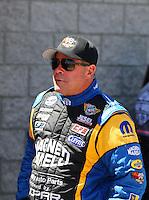 Apr 11, 2015; Las Vegas, NV, USA; NHRA pro stock driver Allen Johnson during qualifying for the Summitracing.com Nationals at The Strip at Las Vegas Motor Speedway. Mandatory Credit: Mark J. Rebilas-