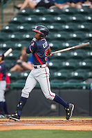 Justin Ellison (5) of the Rome Braves follows through on his swing against the Hickory Crawdads at L.P. Frans Stadium on May 12, 2016 in Hickory, North Carolina.  The Braves defeated the Crawdads 3-0.  (Brian Westerholt/Four Seam Images)
