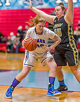 24 November 2015: Yeshiva University Maccabee Forward Simee Rosner, a Junior from Woodsburgh, NY, in action against the College of Mount Saint Vincent Dolphins at the Baruch College ARC Arena Gymnasium, in New York, NY. The Dolphins defeated the Maccabees 67-30 in the NCAA Division III Women's Basketball Skyline matchup. Mandatory Credit: Ed Wolfstein Photo *** RAW (NEF) Image File Available ***