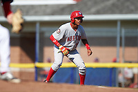 Auburn Doubledays right fielder Juan Soto (26) leads off first base during the second game of a doubleheader against the Batavia Muckdogs on September 4, 2016 at Dwyer Stadium in Batavia, New York.  Batavia defeated Auburn 6-5. (Mike Janes/Four Seam Images)