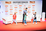 Cristiano Ronaldo  gives five to some children during the ceremony of 'Marca Leyenda' Award in Madrid. July 29, 2019. (ALTERPHOTOS/Francis González)