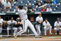 Vanderbilt Commodores first baseman Zander Wiel (43) swings the bat during the NCAA College baseball World Series against the Cal State Fullerton Titans on June 15, 2015 at TD Ameritrade Park in Omaha, Nebraska. Vanderbilt beat Cal State Fullerton 4-3. (Andrew Woolley/Four Seam Images)