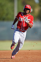 Cincinnati Reds Satchel McElroy (28) during an Instructional League game against the Milwaukee Brewers on October 14, 2016 at the Maryvale Baseball Park Training Complex in Maryvale, Arizona.  (Mike Janes/Four Seam Images)