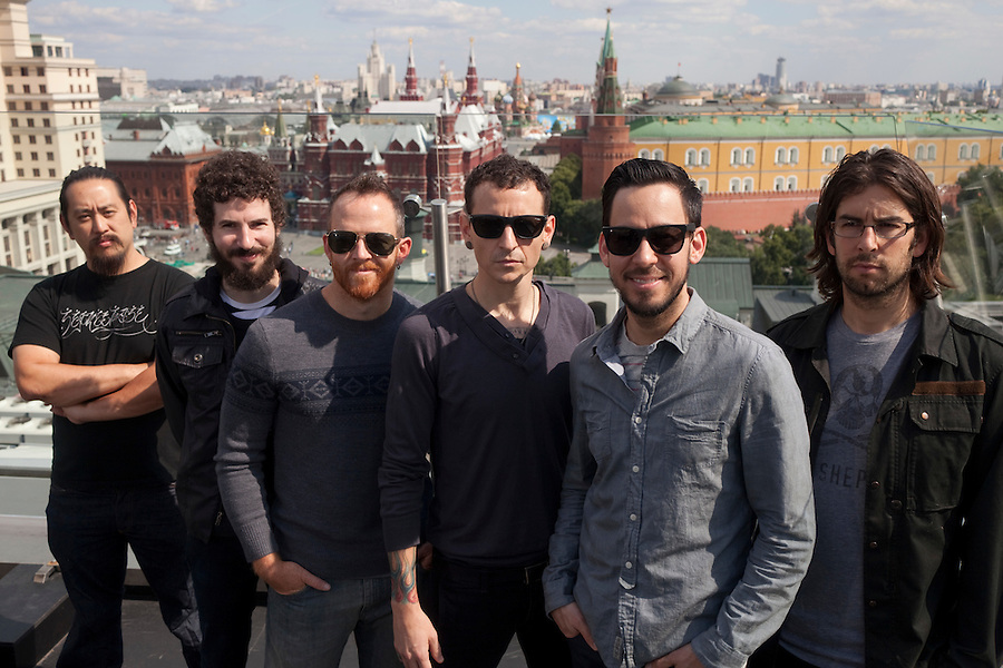 Moscow, Russia, 23//06/2011..American band Linkin Park on the roof of the Ritz Carlton hotel with the Kremlin and Red Square behind.