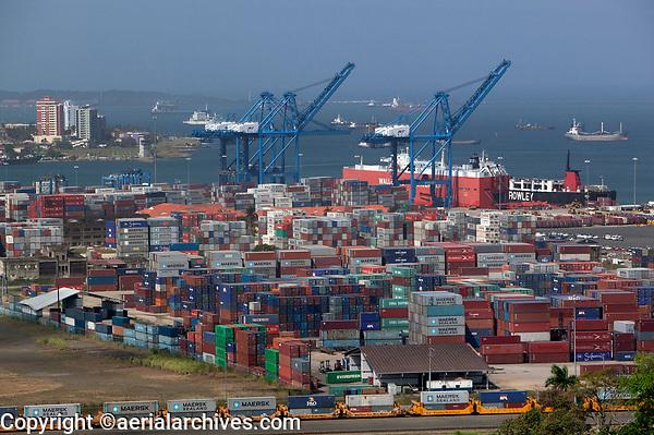 aerial photograph of the Manzanillo International Terminal at the Colon Container Port, at the Atlantic entrance to the Panama Canal, Panama | fotografía aérea de la Terminal Internacional de Manzanillo en el Puerto de Contenedores de Colón, en la entrada del Atlántico del Canal de Panamá, Panamá