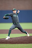 Michigan State Spartans pitcher Jarret Olson (12) delivers a pitch to the plate in the NCAA baseball game against the Michigan Wolverines on May 7, 2019 at Ray Fisher Stadium in Ann Arbor, Michigan. Michigan defeated Michigan State 7-0. (Andrew Woolley/Four Seam Images)