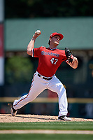 Rochester Red Wings starting pitcher Kohl Stewart (47) delivers a pitch during a game against the Lehigh Valley IronPigs on July 1, 2018 at Frontier Field in Rochester, New York.  Rochester defeated Lehigh Valley 7-6.  (Mike Janes/Four Seam Images)