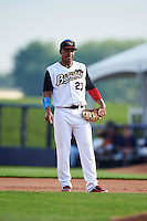 Quad Cities River Bandits first baseman Dexture McCall (27) during a game against the Bowling Green Hot Rods on July 24, 2016 at Modern Woodmen Park in Davenport, Iowa.  Quad Cities defeated Bowling Green 6-5.  (Mike Janes/Four Seam Images)