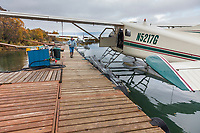 De havilland beaver along the dock in King Salmon, on the Naknek river.