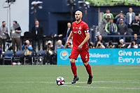 SEATTLE, WA - NOVEMBER 10: Michael Bradley #4 of Toronto FC brings the ball up the field during a game between Toronto FC and Seattle Sounders FC at CenturyLink Field on November 10, 2019 in Seattle, Washington.