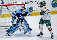 1 December 2018: University of Maine Black Bear Goaltender Carly Jackson, a Junior from Amherst, Nova Scotia, makes a save in the second period against the University of Vermont Catamounts at Gutterson Fieldhouse in Burlington, Vermont. The Lady Cats defeated the Lady Bears 3-2 in the second game of their 2-game Hockey East series. Mandatory Credit: Ed Wolfstein Photo *** RAW (NEF) Image File Available ***