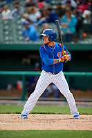 South Bend Cubs center fielder D.J. Wilson (2) at bat during a game against the Kane County Cougars on May 3, 2017 at Four Winds Field in South Bend, Indiana.  South Bend defeated Kane County 6-2.  (Mike Janes/Four Seam Images)