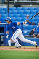 Dunedin Blue Jays designated hitter Bo Bichette (10) at bat in the bottom of the fourth inning during a game against the Bradenton Marauders on July 17, 2017 at Florida Auto Exchange Stadium in Dunedin, Florida.  Bradenton defeated Dunedin 7-5.  (Mike Janes/Four Seam Images)