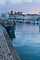 Europe/France/Poitou-Charentes/17/Charente-Maritime/Ile de Ré/Saint-Martin-de-Ré: le Port et l'Église Saint-Martin