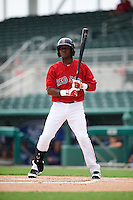 GCL Red Sox shortstop Luis Alejandro Basabe (18) at bat during a game against the GCL Rays on August 3, 2015 at the JetBlue Park at Fenway South in Fort Myers, Florida.  The game was suspended after two innings due to the inclement weather.  (Mike Janes/Four Seam Images)