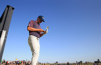 17th July 2021; Royal St Georges Golf Club, Sandwich, Kent, England; The Open Championship Golf, Day Three; Jordan Speith (USA) consults his yardage book at the 16th tee