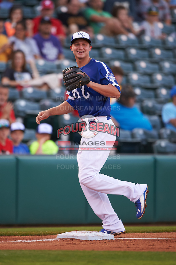 Oklahoma City Dodgers shortstop Corey Seager (18) jogs to the dugout during a game against the Fresno Grizzles on June 1, 2015 at Chickasaw Bricktown Ballpark in Oklahoma City, Oklahoma.  Fresno defeated Oklahoma City 14-1.  (Mike Janes/Four Seam Images)