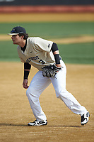 Wake Forest Demon Deacons first baseman Bobby Seymour (3) on defense against the Louisville Cardinals at David F. Couch Ballpark on March 18, 2018 in  Winston-Salem, North Carolina.  The Demon Deacons defeated the Cardinals 6-3.  (Brian Westerholt/Four Seam Images)