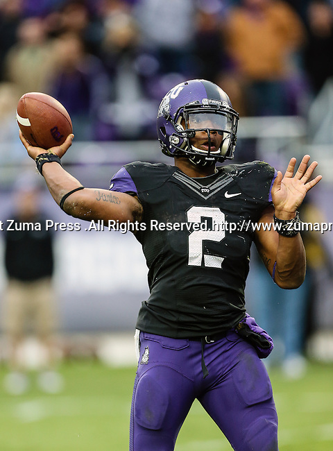 TCU Horned Frogs quarterback Trevone Boykin (2) in action during the game between the Iowa State Cyclones and the TCU Horned Frogs  at the Amon G. Carter Stadium in Fort Worth, Texas. Iowa State defeats TCU 37 to 23..