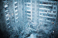 A Soviet era building at the beginning of winter.