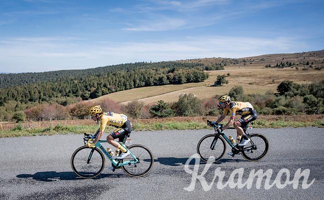 yellow jersey / GC leader Primoz Roglic (SVK/Jumbo-Visma) & Tom Dumoulin (NED/Jumbo-Visma) descending the Col du Béal<br /> <br /> Stage 14 from Clermont-Ferrand to Lyon (194km)<br /> <br /> 107th Tour de France 2020 (2.UWT)<br /> (the 'postponed edition' held in september)<br /> <br /> ©kramon