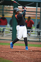 Derrick Newman (2) of Bishop O'Connell High School in Fort Washington, Maryland during the Under Armour All-American Pre-Season Tournament presented by Baseball Factory on January 15, 2017 at Sloan Park in Mesa, Arizona.  (Art Foxall/MJP/Four Seam Images)