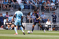 ST PAUL, MN - JULY 18: Fredy Montero #12 of the Seattle Sounders FC brings the ball forward during a game between Seattle Sounders FC and Minnesota United FC at Allianz Field on July 18, 2021 in St Paul, Minnesota.