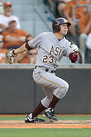 Arizona State Sun Devil outfielder Johnny Ruttiger #23 follows through against the Texas Longhorns in NCAA Tournament Super Regional baseball on June 10, 2011 at Disch Falk Field in Austin, Texas. (Photo by Andrew Woolley / Four Seam Images)