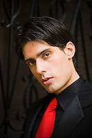 Argentina, Buenos Aires, Tango dancer, closeup portrait