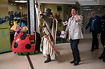 St Georges Day 23rd April 2019, Dartford Kent, parade through shopping centre off the high street, Councillor Mayor David Mote and town hall dignitaries. 2010s. The cartoon characters in the car, are princess Holly and her best friend Ben Elf from the magical Kingdom of elves and fairies a preschool animated television series.
