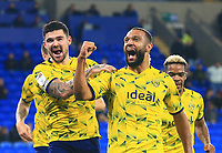 28th September 2021; Cardiff City Stadium, Cardiff, Wales;  EFL Championship football, Cardiff versus West Bromwich Albion; Matt Phillips of West Bromwich Albion celebrates with team mate Alex Mowatt of West Bromwich Albion after scoring his sides fourth goal to make it 0-4 in the second half