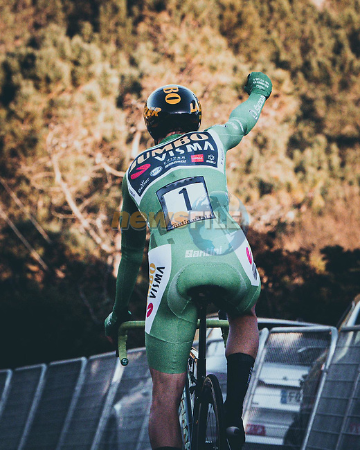 Green Jersey Primoz Poglic (SLO) Team Jumbo-Visma wins Stage 13 of the Vuelta Espana 2020 an individual time trial running 33.7km from Muros to Mirador de Ézaro. Dumbría, Spain. 3rd November 2020. <br /> Picture: Unipublic/BaixauliStudio | Cyclefile<br /> <br /> All photos usage must carry mandatory copyright credit (© Cyclefile | Unipublic/BaixauliStudio)