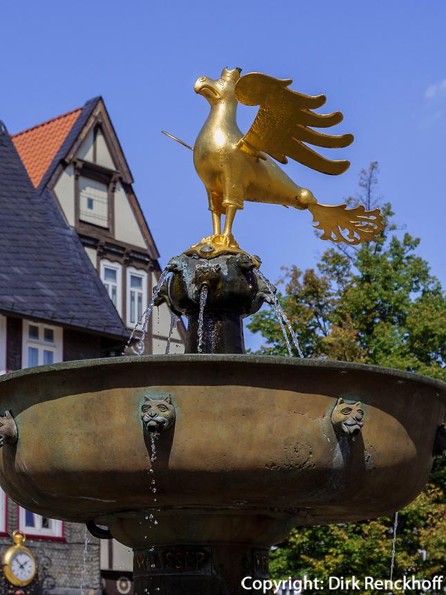 Marktplatz mit Marktbrunnen, Goslar, Niedersachsen, Deutschland, Europa, UNESCO-Weltkulturerbe<br /> Market Place with fountain, Goslar, Lower Saxony,, Germany, Europe, UNESCO Heritage Site