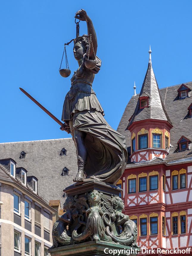 Brunnen am Römerberg, Frankfurt, Hessen, Deutschland, Europa<br /> Fountain at Römerberg, Frankfurtt, Hesse, Germany, Europe